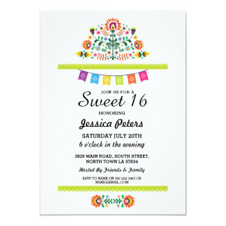 Cartão Mexicano floral Brithday da festa do partido do