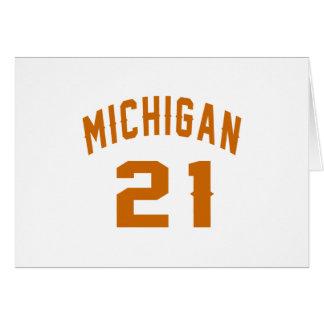 Cartão Michigan 21 designs do aniversário
