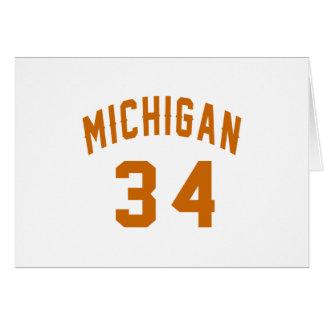 Cartão Michigan 34 designs do aniversário
