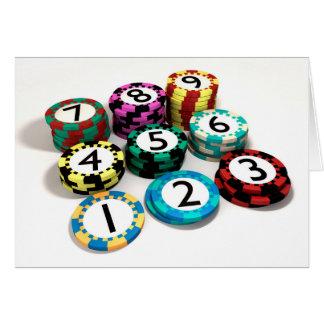 Cartão Microplaqueta do casino empilhada na ordem da