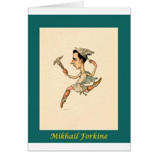 Cartão ~ Mikhail Fokine da caricatura do balé do russo