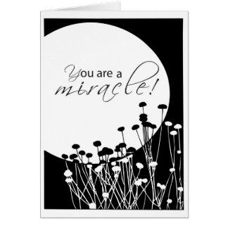 Cartão Milagre do branco do preto do aniversário de 3527