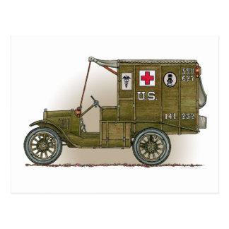 Cartão militar da ambulância do vintage