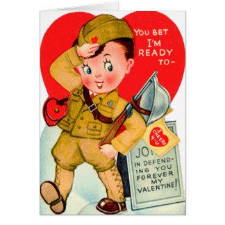 Cartão militar do dia dos namorados do vintage