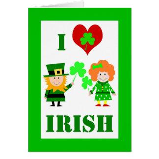 Cartão Mim coração/irlandês do amor, o dia de St Patrick,