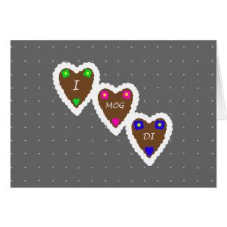 Cartão Mim corações do pão-de-espécie de Mog Di