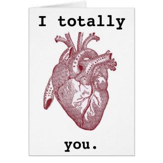 Cartão Mim totalmente coração você