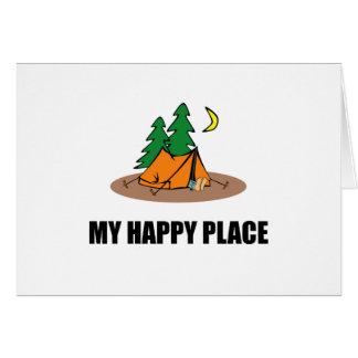 Cartão Minha barraca de acampamento feliz do lugar