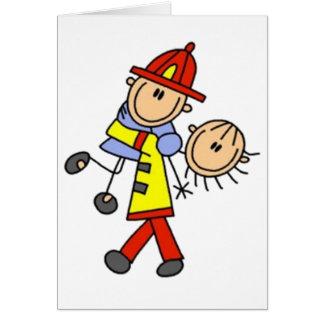 Cartão Minha figura da vara do sapador-bombeiro do herói