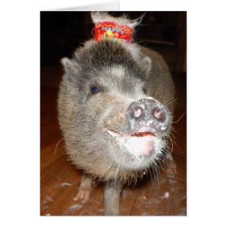 Cartão Mini porco personalizado do feliz aniversario