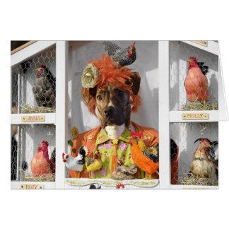 Cartão Misha na casa de galinha