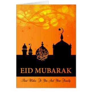 Cartão Misturas da laranja de Eid Mubarak com mesquita da