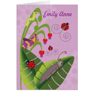Cartão Miúdos doces dos insetos no nome personalizado