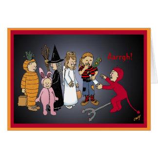 Cartão Miúdos felizes do Dia das Bruxas, Aarrgh!