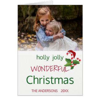Cartão Modelo alegre da foto do bastão de doces do Natal