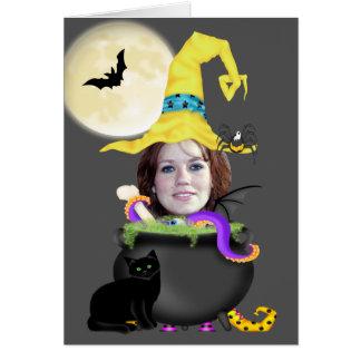 Cartão Modelo da bruxa do Dia das Bruxas