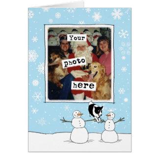 Cartão Modelo da foto do feriado de border collie