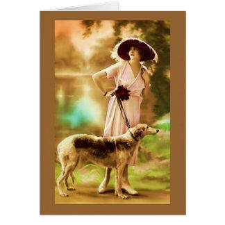 Cartão Modelo de forma francês do vintage com cão III