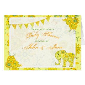 Cartão Modelo do amarelo do elefante do chá de fraldas