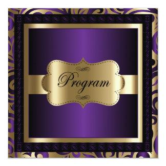 Cartão Modelo | do programa roxo & ouro metálico