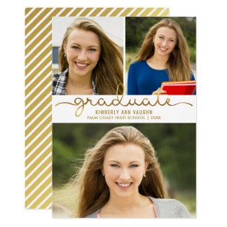 Cartão Modelo fácil da colagem DIY da foto da graduação
