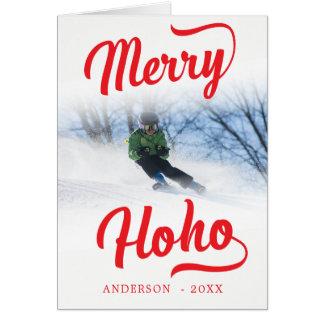Cartão Modelo festivo da foto do Natal vermelho da feliz
