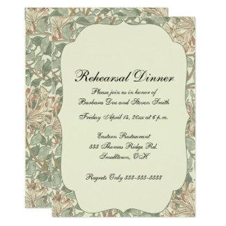 Cartão Modelo floral moderno do vintage do jantar de