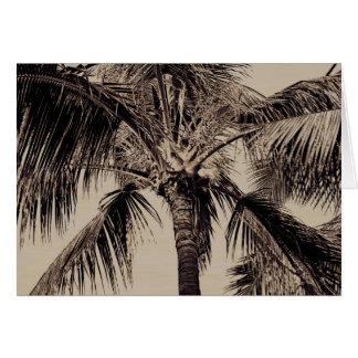 Cartão Modelo havaiano retro da palmeira do Sepia do