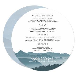 Cartão Modelo redondo do menu do casamento das montanhas