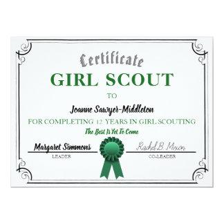 Cartão Modelo Scouting do certificado do serviço da