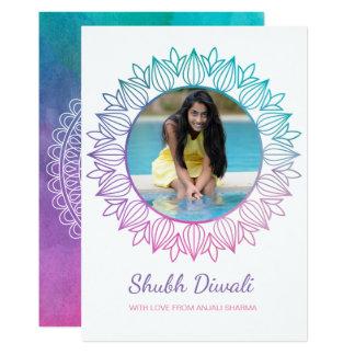 Cartão moderno da foto de Diwali da aguarela