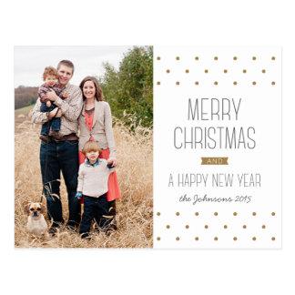 Cartão moderno da foto do Natal dos pontos