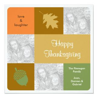 Cartão moderno da queda da acção de graças de 3 convite quadrado 13.35 x 13.35cm