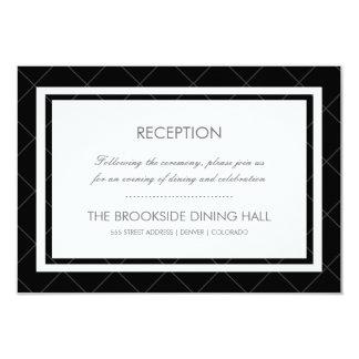 Cartão moderno da recepção do coração - preto e convite 8.89 x 12.7cm