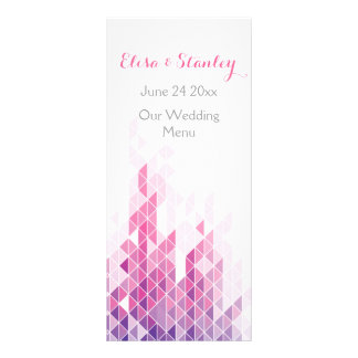Cartão moderno do menu do casamento dos triângulos