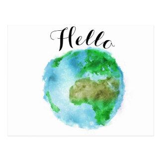 cartão moderno do mundo da terra da aguarela do