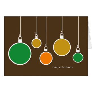 Cartão moderno dos enfeites de natal - castanho