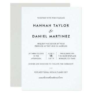 Cartão moderno elegante simples do convite do