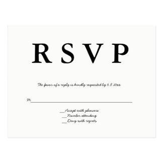 Cartão modernos do rsvp do casamento do b&w cartão postal