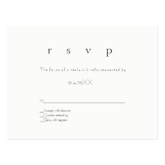 Cartão modernos simples do casamento do rsvp cartão postal