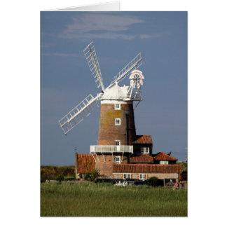 Cartão Moinho de vento em Cley, Norfolk. norte