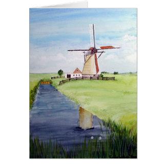 Cartão Moinho de vento holandês pelo Greenfield de Farida