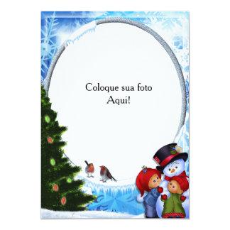 """Cartão moldura """"Boneco de neve com crianças"""" Convite 12.7 X 17.78cm"""