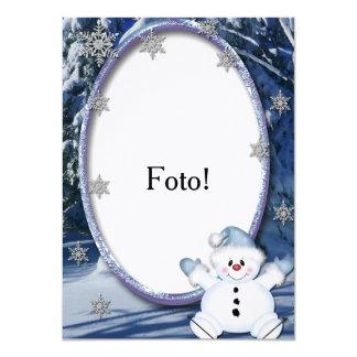 """Cartão moldura """"Bonequinho de neve"""" Convite 11.30 X 15.87cm"""