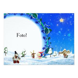 "Cartão moldura ""Familia Papai Noel"" Convite 13.97 X 19.05cm"