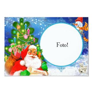 """Cartão moldura """"Papai Noel e seus presentes"""" Convite 8.89 X 12.7cm"""