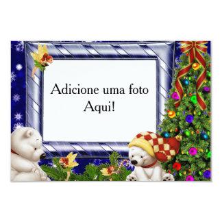"""Cartão moldura para foto """"Urso polar natalino"""" Convite 8.89 X 12.7cm"""