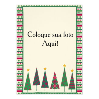 """Cartão moldura """"Pinheirinhos"""" Convite 13.97 X 19.05cm"""