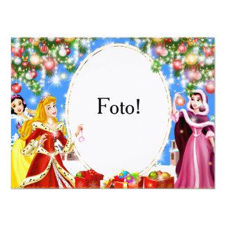 """Cartão moldura """"Princesas"""" Convite 16.51 X 22.22cm"""