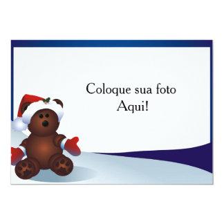 """Cartão moldura """"Urso de Natal"""" Convite 12.7 X 17.78cm"""